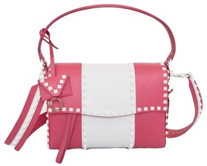 Valentino Rockstud Leather Studded Satchel in Pink/ White