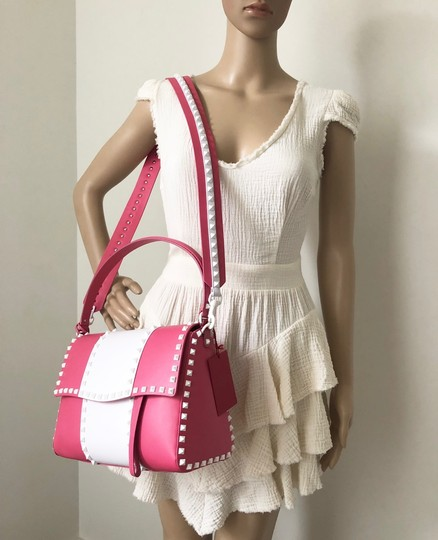 Valentino Rockstud Leather Studded Satchel in Pink/ White Image 11