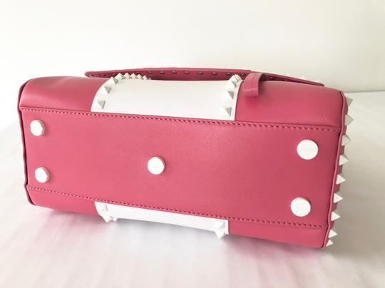 Valentino Rockstud Leather Studded Satchel in Pink/ White Image 9
