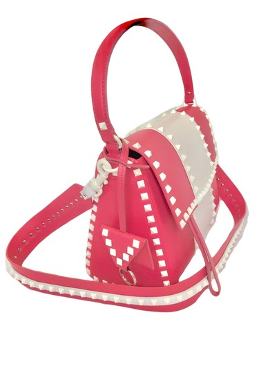 Valentino Rockstud Leather Studded Satchel in Pink/ White Image 1