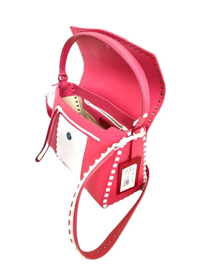 Valentino Rockstud Leather Studded Satchel in Pink/ White Image 3