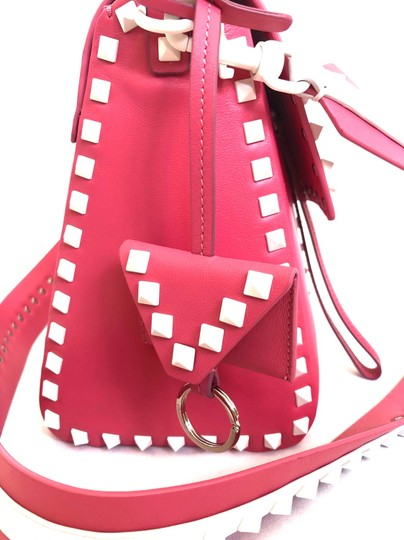Valentino Rockstud Leather Studded Satchel in Pink/ White Image 5