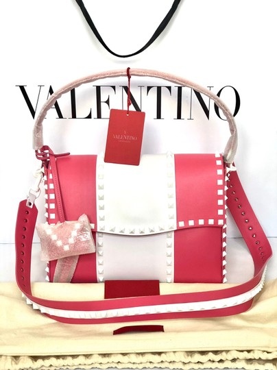 Valentino Rockstud Leather Studded Satchel in Pink/ White Image 6