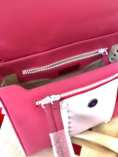 Valentino Rockstud Leather Studded Satchel in Pink/ White Image 7