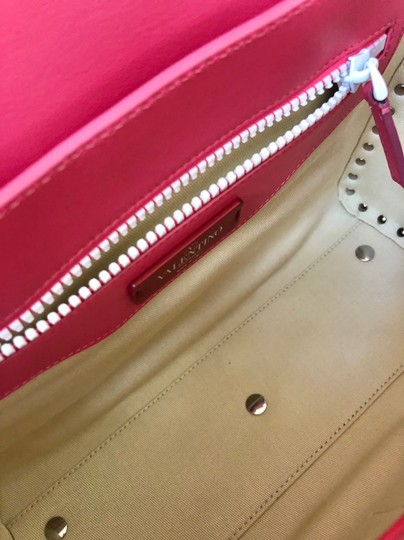 Valentino Rockstud Leather Studded Satchel in Pink/ White Image 8