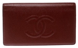 Chanel Burgundy Caviar Leather CC Long Bifold Wallet