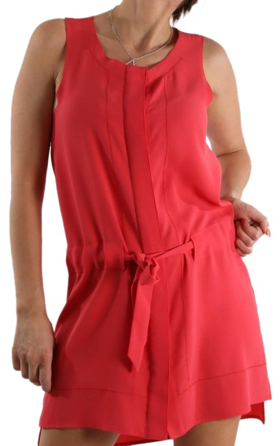 Item - Red Intermix Drop Waist Button Down Belt Sleeveless Short Casual Dress Size 0 (XS)