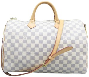 Louis Vuitton Lv Speedy Bandouliere Canvas Damier Azur Satchel in white