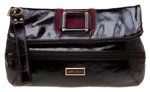Jimmy Choo Suede Patent Leather Burgundy Clutch
