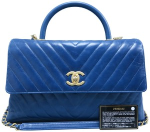 4db60d6414e3 Chanel Medium Coco Handle Chevron Calfskin Satchel in MediumBlue