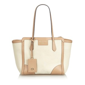 Gucci 9dguto058 Vintage Canvas Leather Tote in White
