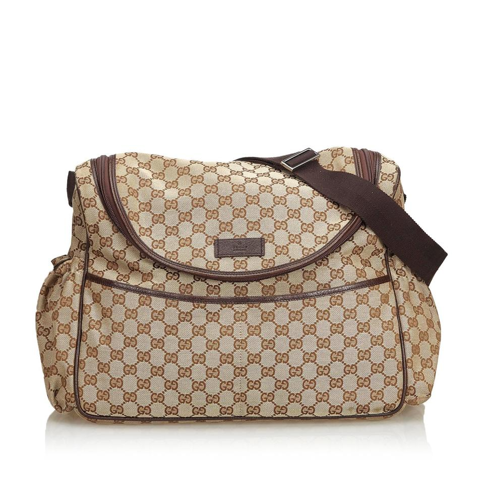 3e933916bfa5 Gucci W Beige Jacquard Fabric Gg Diaper Italy Dust Brown Blend Leather  Weekend/Travel Bag
