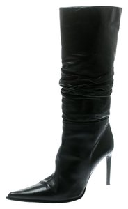Le Silla Leather Detail Pointed Toe Black Boots