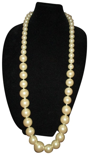 Item - Ivory X Long Huge Faux Pearl Necklace