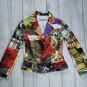 Moschino Multi Color Womens Jean Jacket