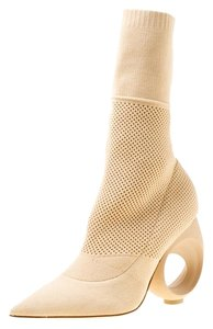 Burberry Knit Pointed Toe Midcalf Cotton Leather Beige Boots