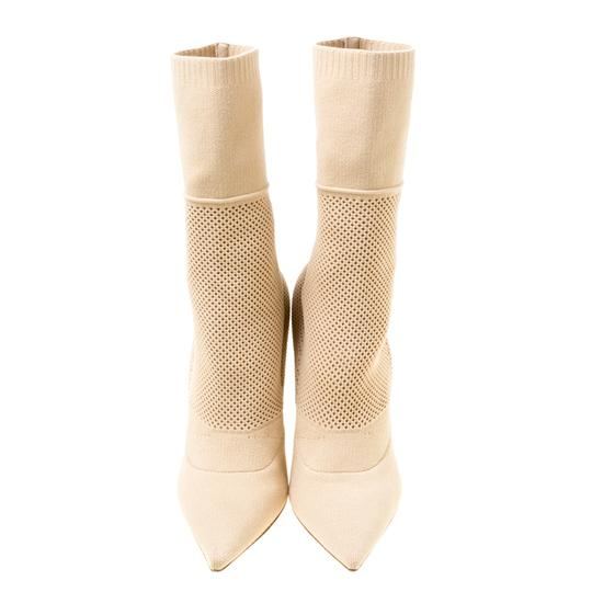 Burberry Knit Pointed Toe Midcalf Cotton Leather Beige Boots Image 1