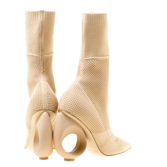 Burberry Knit Pointed Toe Midcalf Cotton Leather Beige Boots Image 2