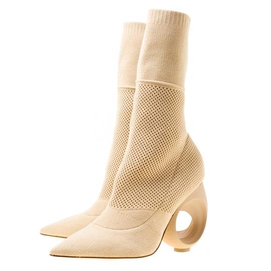 Burberry Knit Pointed Toe Midcalf Cotton Leather Beige Boots Image 3