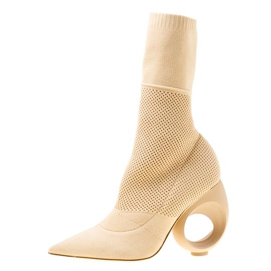 Burberry Knit Pointed Toe Midcalf Cotton Leather Beige Boots Image 4