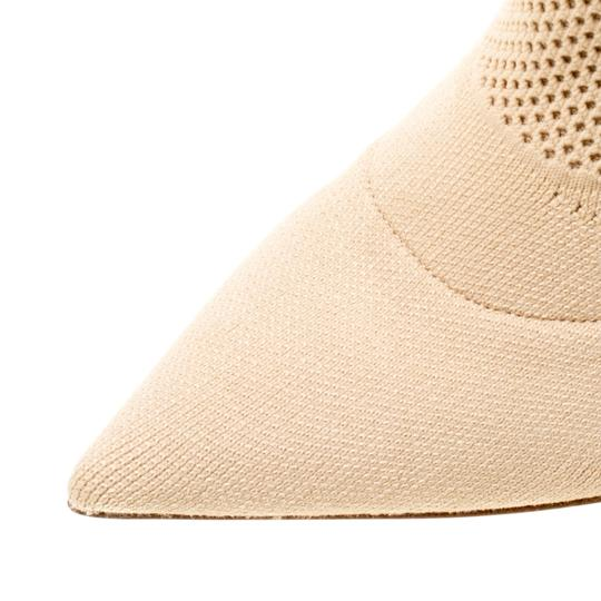 Burberry Knit Pointed Toe Midcalf Cotton Leather Beige Boots Image 6
