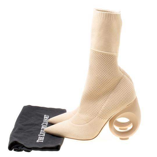 Burberry Knit Pointed Toe Midcalf Cotton Leather Beige Boots Image 7