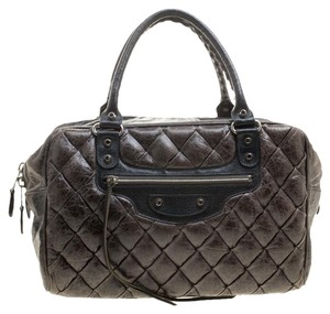 Balenciaga Leather Quilted Satchel in Grey