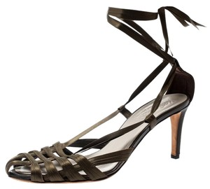 Saint Laurent Satin Strappy Ankle Leather Green Sandals