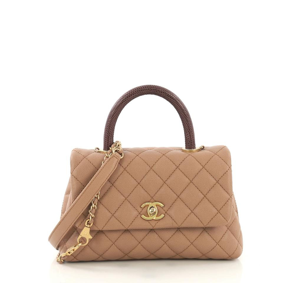 24a29043f816c0 Chanel Coco Top Handle Quilted Mini Beige Caviar with Lizard Tote ...