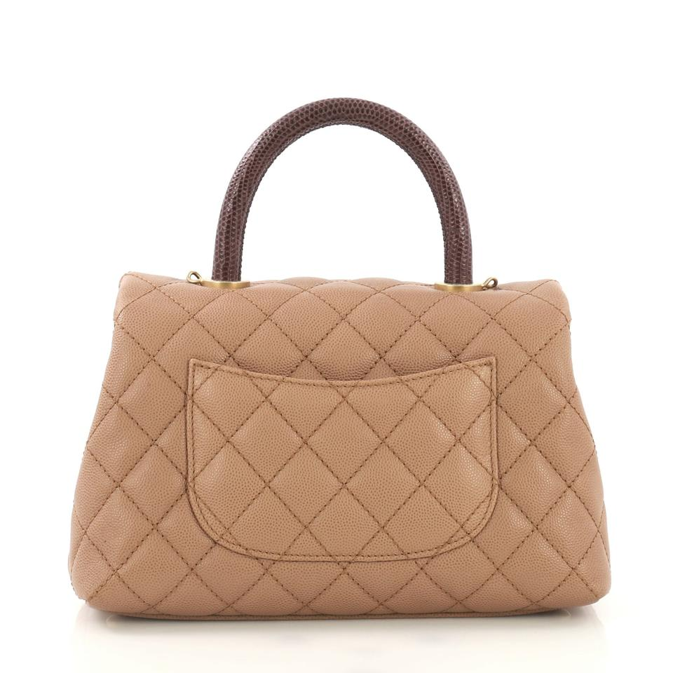 95af32eb4deffc Chanel Top Handle Bag Coco Quilted Mini Beige Caviar with Lizard ...