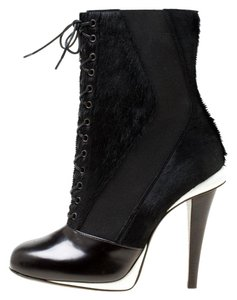 Fendi Monochrome Leather Lace Black Boots