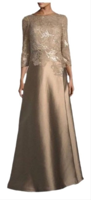 Item - Bronze Embellished Lace Illusion 3/4 Sleeve Gown Long Formal Dress Size 10 (M)
