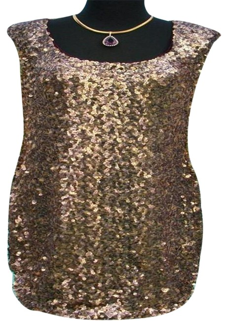 Item - Gold Metallic Sequin L Encrusted Key Hole Back Event New M/L 8/10/12 Lined Short Cocktail Dress Size 10 (M)