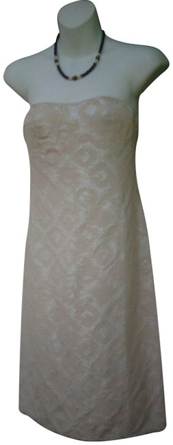 Item - Beige and Silver Strapless Brocade Short Cocktail Dress Size 0 (XS)
