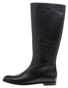 Alexander McQueen Leather Spike Midcalf Black Boots