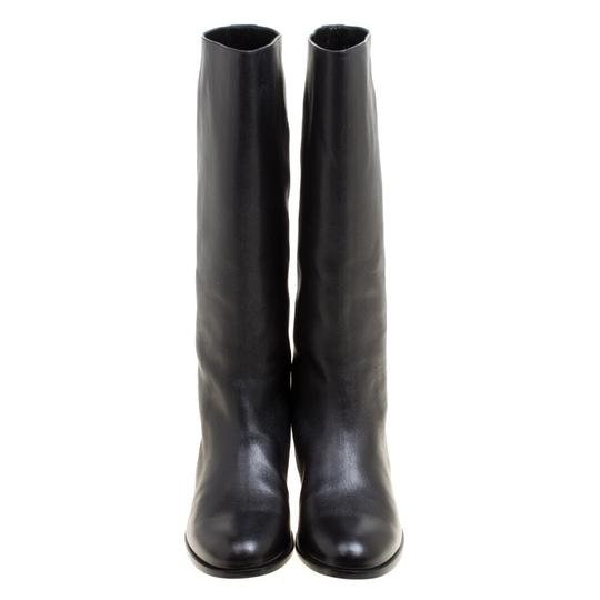 Alexander McQueen Leather Spike Midcalf Black Boots Image 1