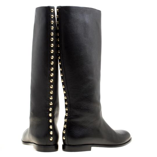 Alexander McQueen Leather Spike Midcalf Black Boots Image 2