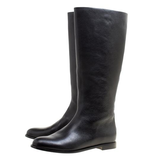 Alexander McQueen Leather Spike Midcalf Black Boots Image 3