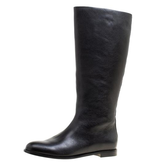 Alexander McQueen Leather Spike Midcalf Black Boots Image 5