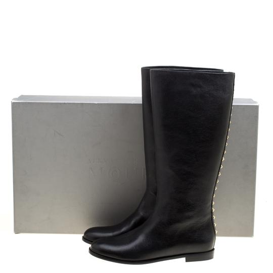 Alexander McQueen Leather Spike Midcalf Black Boots Image 9