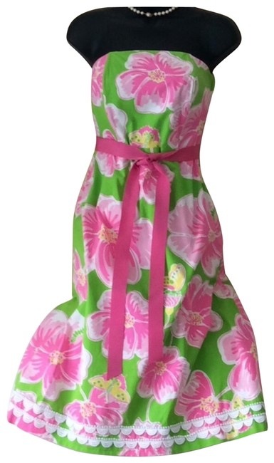 Item - Pink White and Green Mid-length Short Casual Dress Size 8 (M)