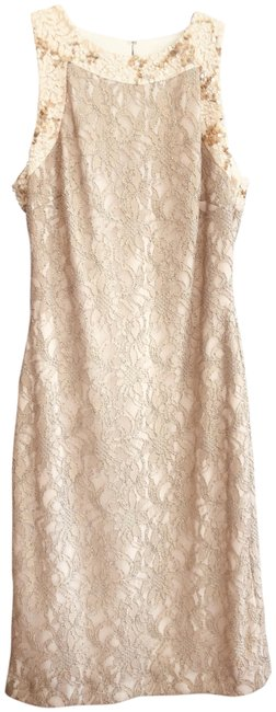 Item - Gold/Nude Mid-length Cocktail Dress Size 10 (M)