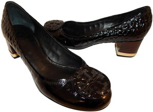 500fbd7264340 Tory Burch Patent Leather Medallion Embossed Amy Black Pumps