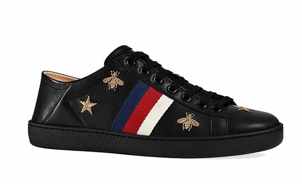175fb563d Gucci Black Mirosoft Bee Star Web Red White Blue B542 Sneakers Size ...
