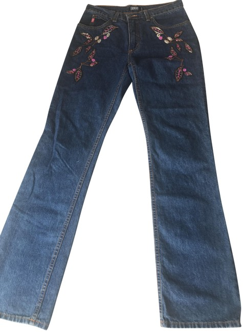 Item - Blue Denim with Multi Colored Sequins/Beads Medium Wash Straight Leg Jeans Size 32 (8, M)