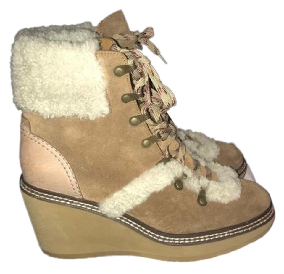 8ba0061bb57 See by Chloé Tan Eileen Wedge Shearling Boots/Booties Size US 11 Regular  (M, B) 57% off retail