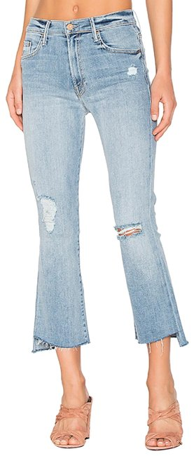 Item - Light Blue Distressed Insider Crop Step Fray Relaxed Fit Jeans Size 4 (S, 27)