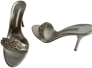 Gianmarco Lorenzi Sexy Heels Stiletto Strappy Mother Of Pearl SILVER Sandals