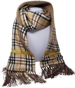 Burberry Beige gold multicolor vintage Burberry House Check scarf