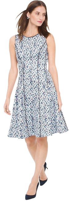 Item - White/Blue Sleeveless Printed Fit-and-flare Mid-length Work/Office Dress Size 14 (L)
